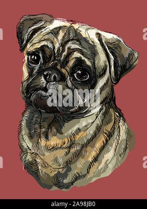 Pug vector hand drawing illustration in different color on red background - Stock Photo