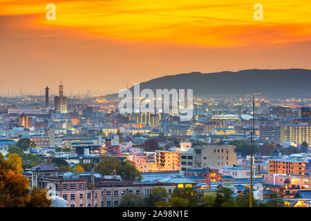 Kyoto, Japan Cityscape at dusk in the autumn season. - Stock Photo
