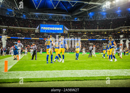 October 27 2019  London UK Los Angeles Rams Wide Receiver Cooper Kupp (18) and Los Angeles Rams Tight End Tyler Higbee (89) celebrate touchdown During the NFL game between the Cincinnati Bengals and the Los Angeles Rams on October 27, 2019 at Wembley Stadium, London, England.