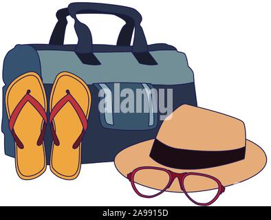 beach hat with sandals and hat icon, flat design - Stock Photo
