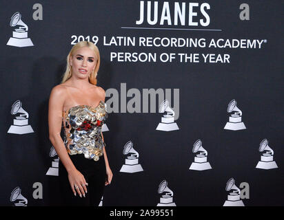 Las Vegas, United States. 13th Nov, 2019. Singer Lali arrives for the Latin Grammy Person of the Year gala honoring Columbian singer Juanes at the MGM Grand Convention Center in Las Vegas, Nevada on Wednesday, November 13, 2019. Photo by Jim Ruymen/UPI Credit: UPI/Alamy Live News - Stock Photo
