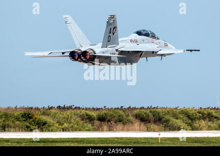 CLEVELAND, OHIO / USA - September 4, 2015: An F/A-18 Super Hornet performs a demo at the 2015 Cleveland International Airshow. - Stock Photo