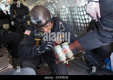 DAYTON, OHIO / USA - June 20, 2015: The Unites States Army Golden Knights parachute team performs at the 2015 Dayton airshow. - Stock Photo