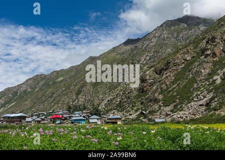 Chitkool Village, last inhabited village near the Indo-China border. Himachal Pradesh, India, HR - Stock Photo