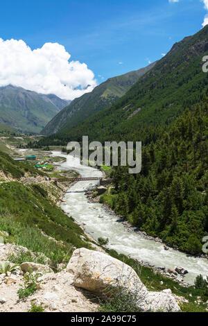 View of Baspa glaciaal river, Himachal Pradesh, India - Stock Photo