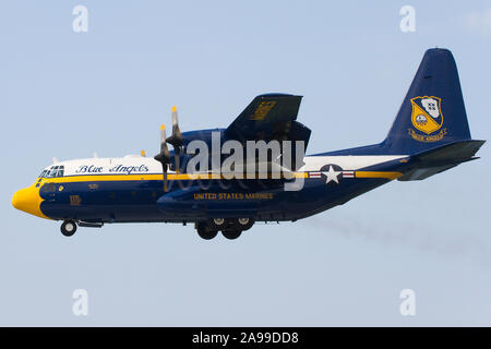 The U.S. Navy Blue Angels C-130 Hercules support aircraft, 'Fat Albert', performs a demo at the 2012 Cleveland Airshow. - Stock Photo