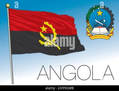 Angola Republic official flag and coat of arms, vector illustration - Stock Photo