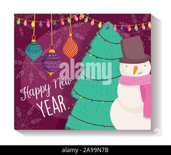 happy new year snowman tree balls lights snowflakes poster vector illustration - Stock Photo