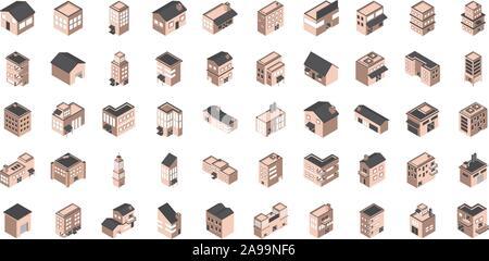 building isometric style icons set vector illustration - Stock Photo