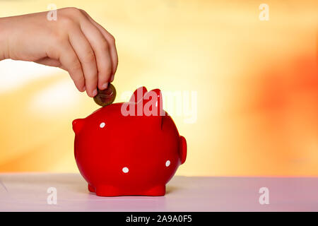 hand puts a coin in a piggy Bank in the form of a pig - Stock Photo