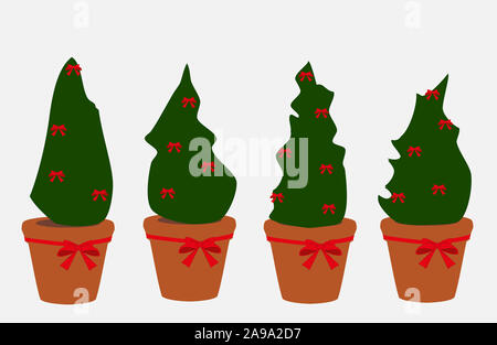 Set of Christmas trees in pots decorated with red bows isolated on white background. Simple drawn xmas plants icons - Stock Photo