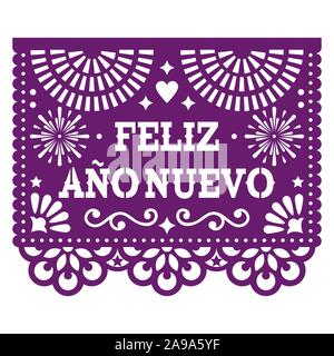 Feliz Ano Nuevo - Happy New Year in spanish Papel Picado vector design with, Mexican paper cut out style purple greeting card on white - Stock Photo