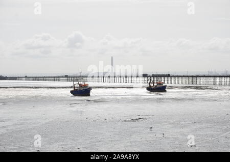 Boats Stuck in the Mud at Low Tide,Southend-on-Sea, Essex - Stock Photo