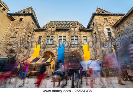 Saint-Antoine-l'Abbaye during the medieval festival which is held every year in August - Stock Photo