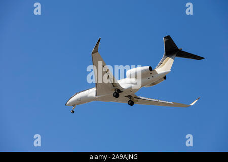 Private jet on approach into LAX, Los Angeles, California, United States of America. USA - Stock Photo