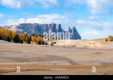 View on Schlern - Sciliar mountain and Seiser Alm - Alpe di Siusi in Dolomite Alps, South Tyrol, Italy. - Stock Photo