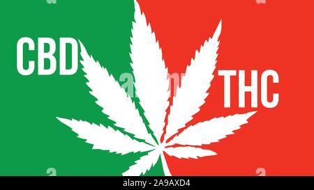 cbd vs thc cannabis sativa ganja large text typography banner illustration - Stock Photo