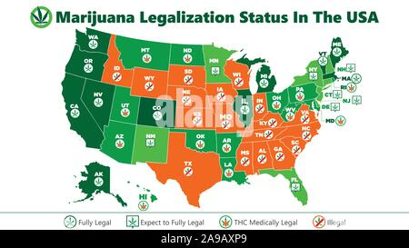marijuana (ganja) legalization status in the USA map infographic style illustration - Stock Photo