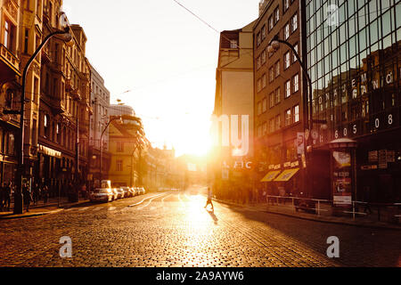 PRAGUE, CZECH REPUBLIC - OCTOBER 13, 2018: A view of the Narodni avenue one of the most important avenues in Prague, Czech Republic, at sunset - Stock Photo