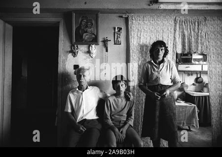 Family involved in blood feuds, Shokdra, northern Albania. 1992. - Stock Photo