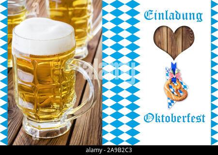 German Invitation to October Festival - Stock Photo