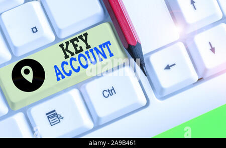 Writing note showing Key Account. Business concept for individual approach of sales showing to their customers - Stock Photo