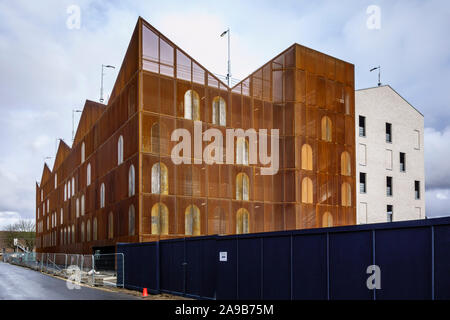 The Goods Yard development 401-space multi-storey car park, building site in Bishops Stortford Town Centre High Street, Hertfordshire, England, UK, GB - Stock Photo