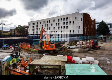 The Goods Yard development building site in Bishops Stortford Town Centre High Street, Hertfordshire, England, UK, GB - Stock Photo