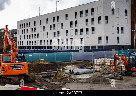 The Goods Yard development building site in Bishops Stortford Town Centre High Street, Hertfordshire, England, UK, GB - Stock Photo
