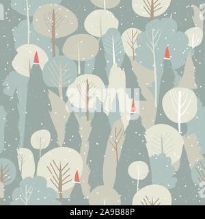 Seamless vector winter forest pattern. Christmas background - Stock Photo
