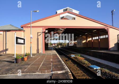Frome railway station,one of the oldest through train shed railway stations still in use.Wooden construction opened in 1850 to a design by G Hannaford - Stock Photo
