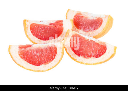 Close-up of four slices of a ripe pink grapefruit (Citrus paradisi), isolated on white background. - Stock Photo