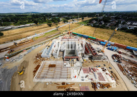09.07.2019, Oberhausen, North Rhine-Westphalia, Germany - Emscher conversion, new construction of the Emscher sewer AKE, here the new construction of - Stock Photo