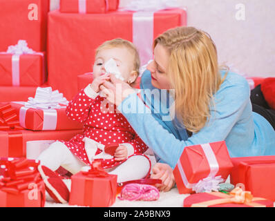 Endless love. Parenthood as challenge and achievement. Mother play with cute baby toddler daughter. Enjoy childhood. Child deserve all best. Happy parenthood. Appreciate being mom. Parenthood goals. - Stock Photo