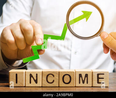 Wooden blocks with the word Income and the up arrow in the hands of businessmen. The concept of increasing profits and finance. Budget growth in the c - Stock Photo