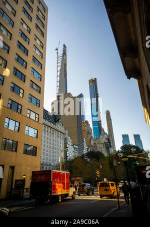 Billionaire's Row, a collection of super-tall residences for the uber-rich mostly on West 57th Street on Wednesday, November 6, 2019.  The under construction Steinway Tower is on the left. (© Richard B. Levine) - Stock Photo