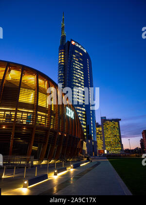 Milan (Italy) 11/13/2029: UniCredit Tower Is one of the highest skyscrapers of Italy and represents the symbol of the finance and modernity of the tow - Stock Photo