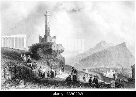 An engraving of The Calton Hill with Nelson Monument Edinburgh scanned at high resolution from a book printed in 1859. This image is believed to be fr - Stock Photo