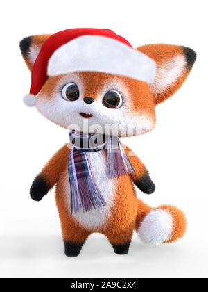 3D rendering of an adorable cute happy furry cartoon fox wearing a Santa hat and a scarf. White background. - Stock Photo