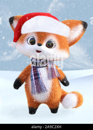 3D rendering of an adorable cute happy furry cartoon fox wearing a Santa hat and a scarf, standing in snow. Snowy background. - Stock Photo