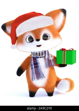 3D rendering of an adorable cute happy furry cartoon fox wearing a Santa hat and scarf, holding a Christmas gift. White background. - Stock Photo