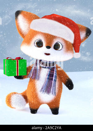 3D rendering of an adorable cute happy furry cartoon fox wearing a Santa hat and scarf, holding a Christmas gift. Snowy background. - Stock Photo