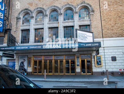 New York, NY - September, 2019: View of the marquee and sign for the show Betrayal in the Theater District of Manhattan New York City - Stock Photo