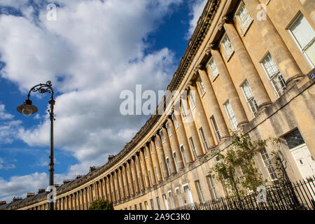Bath, UK - September 29th 2012: The magnificent terraced Georgian architecture of the Royal Crescent in the city of Bath, Somerset. - Stock Photo