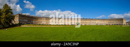 Bath, UK - September 29th 2012: A panoramic view of the magnificent terraced Georgian architecture of the Royal Crescent in the city of Bath, Somerset - Stock Photo