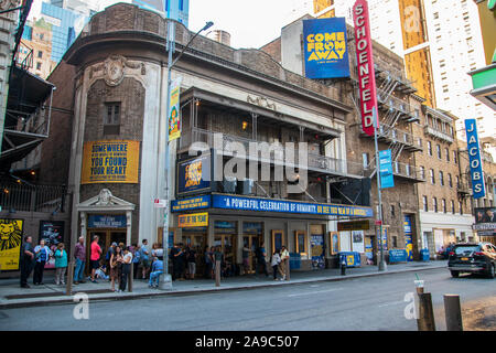 New York, NY - September, 2019: View of the marquee and sign for the famous Schoenfeld Theater showing Come From Away in the Theater District of Manha - Stock Photo