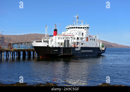 MV Coruisk, Calmac ferry, at Craignure ferry terminal on the Isle of Mull in the Inner Hebrides of Scotland - Stock Photo