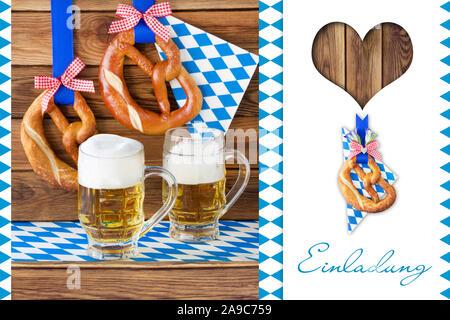 German Bavarian Invitation and beer - Stock Photo
