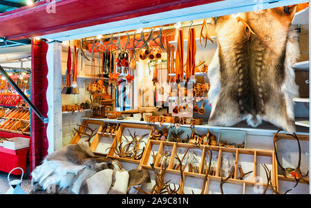 Reindeer fur horns Christmas Market in Rovaniemi Finland Lapland new - Stock Photo