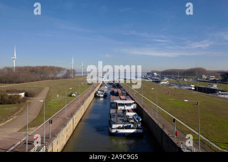 Volkeraksluizen lake krammer. Drone photograpy from the delta works in noord brabant in the Netherlands - Stock Photo